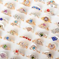 10Stk Großhandel Damen Ring Gemischt Bunte Strass Kristall Ringe Gold Schmuck