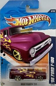 2011 Hotwheels Purple 1956 Ford F100 Heat Fleet 3/10 Card # 93/244