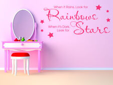 """Child's Bedroom Wall Sticker """" When It Rains Look For Rainbows.."""" Vinyl Decal"""
