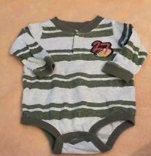 Koala Baby Boys Gray Green Striped Football Long Sleeve One Piece 3 Months EUC
