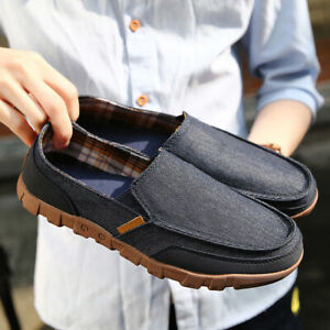 Men's Casual Canvas Loafers Breathable Moccasins Outdoor Walking Slip On Shoes
