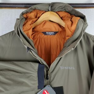 NWT $249 SIMMS Size 2XL Mens Army Green Hooded Primaloft Fishing Casual Jacket
