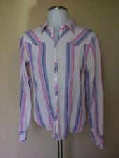 Periscope Medium Shirt Pink Purple White Stripe Collar Button Up Front Blouse