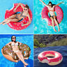 Bite Shape Giant Inflatable Donut Swim Ring Fun Swimming Pool Water Float Raft