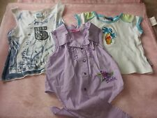 2 X GIRLS SIZE 7 SUMMER SHORT AND SLEEVELESS PURPLE BARBIE TOPS