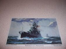 1940s USS PENNSYLVANIA BATTLESHIP PAINTING POSTCARD by GORDON GRANT