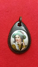 Pretty Victorian Miniature Painting Set In Jet Mounted Pendant