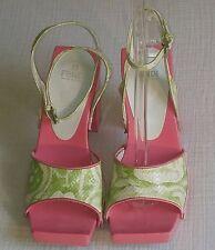 Fendi Last Gloria Python Boa Green Satin Pink Platform Heels Sandals 371/2 Italy