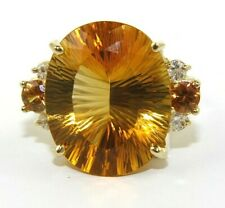 Oval Orange Citrine & Diamond Solitaire Ring 14K Yellow Gold 16.59Ct