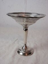 Fluted Edge Sterling Silver Compote Reticulated Tall Tazza Candy Bowl Pedestal