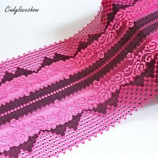 "Hot Red & Black Stretch Lace Trims Elastic 7.8""/19.8cm Lingerie Sewing DIY Craft"