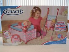 2014 GRACO DELUXE DOLL PLAYSET STROLLER, PACK 'N PLAY, DIAPER BAG, CHANGING PAD