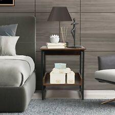 2-Tier Vintage Industrial End Table Living Room Sofa Side W/ Storage Shelf Brown