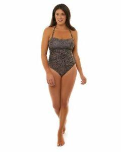 Ava Animal Print Side Trim Bandeau Women's one Piece Swimsuit/Swimwear- Brown