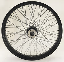 "Black 60 Spoke Billet 23 x 3.5"" Front Dual Disc Wheel for Harley and Custom"