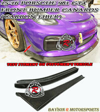 Front Bumper Canards (Carbon) Fit 2016 Porsche 981 Cayman GT4 / Boxster Spyder