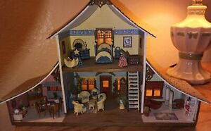"""Handcrafted Antique Dollhouse Miniatures Complete Cottage Display 1:48 (1/4"""")"""