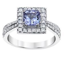 Tanzanite Diamond Ring 2.20ct Cushion Princess Halo 18k White Gold