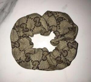 Gucci GG Monogram Scrunchie Hair Tie Beige