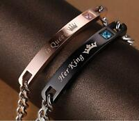 "Titanium Stainless Steel Couple Lover Bracelet His And Her ""Her King His Queen"""