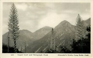 CALIFORNIA RPPC POSTCARD: SUGAR LOAF AND TELEGRAPH PARK CA CAMP BALDY ALEX PHOTO