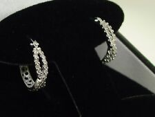 NEW 14K WHITE GOLD APPROX. 1/2 CTW SPARKLING DIAMOND HOOP CROSSOVER EARRINGS!