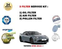 FOR TOYOTA GT86 2.0 COUPE ZN6 2012 > NEW OIL AIR POLLEN 3 FILTER SERVICE KIT