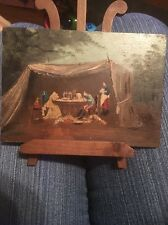 Antique French Painting Soldier And Lady In A Tent At War Unique Taxidermy