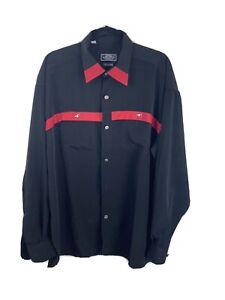 Vintage Bugelfrei Western Style Black Red Silver Button Shirt XXL