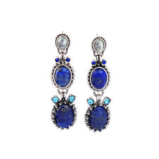 earrings Nails Silver Candlestick Oval Lapis Lazuli Blue Retro XX23