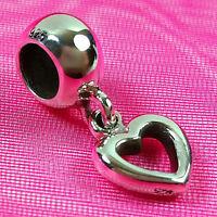 Genuine 925 Solid Sterling Silver Heart Love Charm Bead European Bracelet Fit