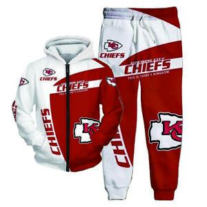 Kansas City Chiefs Men Zip Tracksuit Sports Hoodie Sweatsuit Sweatpant Set S-5XL