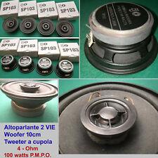 4 altoparlanti 2Vie 10cm 100W 4ohm BJ SP103 woofer+tweeter cupola Magneti Grandi