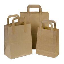 Kraft Paper SOS Bags Flat Handle Food Carrier Bags Takeaway Gifts Brown White
