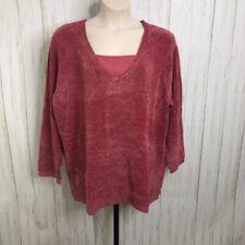 Denim & Co Size 3X  Rust  Red Marled Velour Pullover V neck Shirt NEW