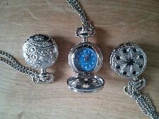 Reloj De Bolsillo Chapado en Oro Blanco Pequeño Collar Colgante Vintage Antiguo Regalo