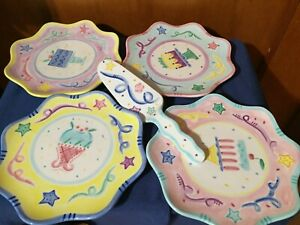"""4 Celebrations by MARET Birthday Party Ceramic Plates 9"""" Cake Colorful Pastel"""