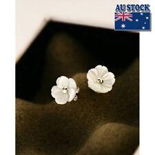 Pretty White Mother of Pearl 10MM Cute Flower Silver Stud Earrings 925 Silver