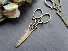 Antique Bronze Scissors Charms 5pcs D2 Steampunk Vintage Pendants Gold Kitsch