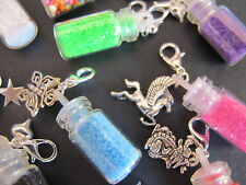 10 x Mini Fairy Dust Charms Mixed Tiny Bottle Pendant Bright Necklace Key Ring