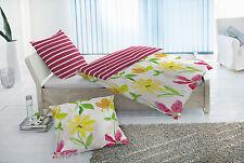 4tlg.Bettwäsche Linon,Renforce 100 % Baumw., rot, Blumen Streifen #123025/012