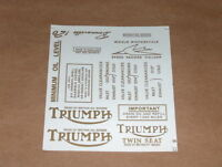 New Triumph Pre Unit Waterslide Decal Set 1 trophy bonneville 500 650