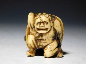 RARE Motif ONI (Demon) NETSUKE Japan Original Edo Inro Antique