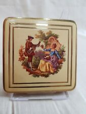 Lovely Vintage Powder Compact by Colibri Cream Enamel Regency Style c1950s/60s