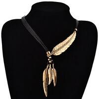 Women Crystal Tassels Leaf Pendant Leather Chunky Choker Statement Bib Necklace