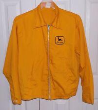 Vintage John Deere Yellow Black Jacket Patch Men's Large Vtg Lightweight