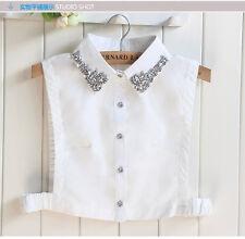 New Unisex Women Detachable Dickey Blouse Shirt Cotton Fake False Choker Collar
