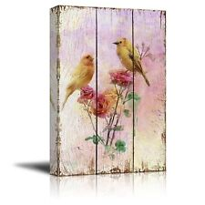 Yellow Canary Birds on Branches with Pink Roses - Canvas Art - 16x24 inches