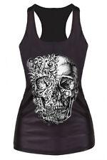 3D Skeleton Skull Face Black Racerback Tank Top Halloween Horror Morbid Shirt