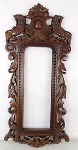 French Antique Hand Carved Black Forest Style Wood Wall Picture Frame (Mirror)